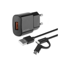 4smarts VoltPlug QC3.0 18W black , with ComboCord-cable 1,5m