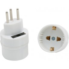 3-pole travel adapter, German to Swiss, with ground