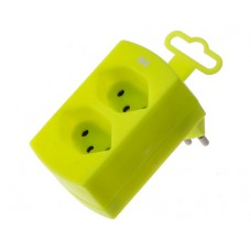 Double derivative plug, fluorescent yellow, 2x T13 with child protection, without switch