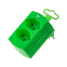 Double derivative plug, fluorescent green, 2x T13 with child protection, without switch