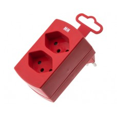 Double derivative plug, red, 2x T13 with child protection, without switch