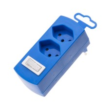 Derivative plug, double, blue, 2x T13 with child protection and switch