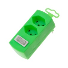 Derivative plug, 2 sockets, fluorescent green, 2x T13 with child protection, with switch
