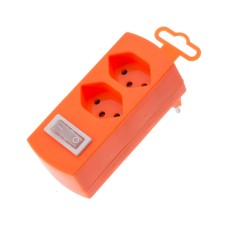 Derivative plug, fluorescent orange, 2x T13 with child protection and switch