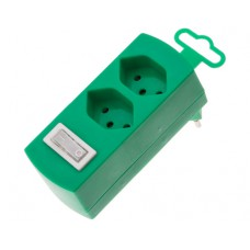 Derivative plug 2x, green, 2xT13 with child protection, with switch