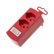 Double derivative plug, red, 2x T13 with child protection, with switch