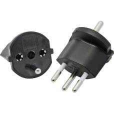 Fixed adapter 3-pole German to plug CH T12, black, CEE7 to T12