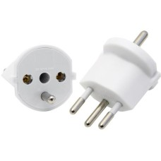 Fixed adapter 3-pole German to Swiss T12, white, CEE7 to T12