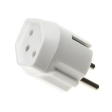 3 poles permanent adapter Swiss T13 to German plug, white