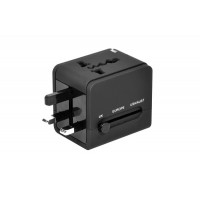 World Travel Adapter 100-240V / 2xUSB, black