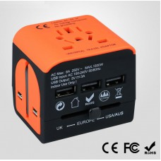 Travel Adapter multi-countries - with 3 USB charging ports - orange - black