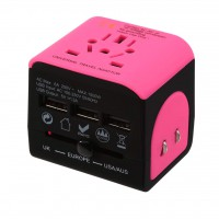 Travel Adapter multi-countries - with 3 USB charging ports - pink - black
