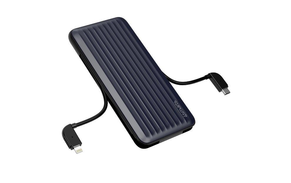4smarts Powerbank iDuos 10000mAh, 20W PD, USB-C/ Lightning, MFi, blue/black
